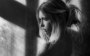 Picture girl, light, tattoo, shadows, shoulder, black and white photo