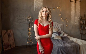 Picture look, pose, model, bed, hands, red dress, garland, curls, Ekaterina Zorina, A Diakov George
