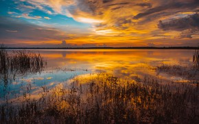 Wallpaper sunset, clouds, golden, sky, the sky, water, reflection, water, lake, sea, sunset, sea, lake, gold