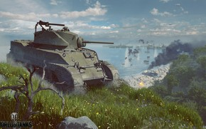 Picture flowers, smoke, tank, World of Tanks, M5 Stuart