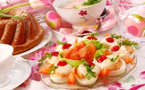 Wallpaper flowers, eggs, Easter, cake, eggs, serving, appetizer