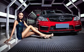 Picture look, Girls, Mercedes, Asian, beautiful girl, red car, sitting near a car