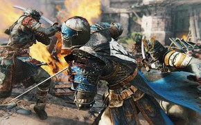 Wallpaper game, stripes, For Honor, samurai, blade, sword, ken, knight, weapon, japonese, armor, fight