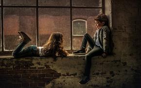 Picture children, boy, window, girl