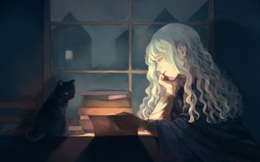Picture cat, girl, interior, reads