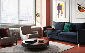 Picture table, room, sofa, carpet, picture, chair, window, pillow, blinds