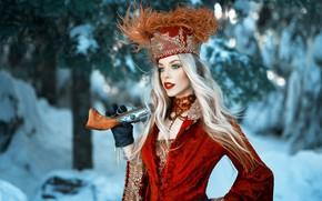 Picture girl, gun, long hair, dress, weapon, hat, style, photo, photographer, blue eyes, winter, snow, model, …