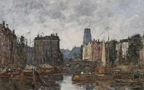 Picture home, picture, the urban landscape, Eugene Boudin, Eugene Boudin, Rotterdam. Bridge Exchange