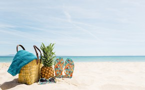 Wallpaper sand, sea, beach, summer, stay, glasses, summer, bag, pineapple, beach, vacation, sea, sand, pineapple, slates, ...