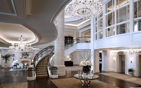 Picture ladder, chandelier, fireplace, the hotel, Mandarin Oriental Hotel