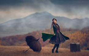 Picture autumn, girl, umbrella, mood, dress, suitcase, Monica Lazar