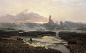 Picture landscape, fog, river, boat, picture, the bell tower, Alexander Afonin, Morning Serafimo-Diveevsky Laurels