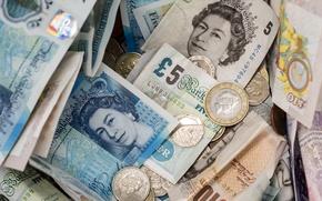 Wallpaper money, UK, coins, banknotes, GBP
