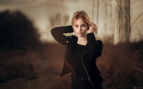 Picture grass, girl, the evening, blonde, beautiful, nature, in black, bokeh