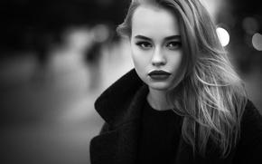 Picture girl, portrait, bokeh, black and white photo