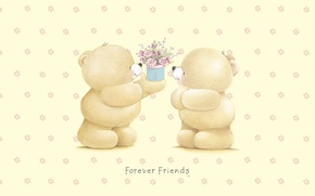 Picture gift, art, bear, flowers, children's, Forever Friends Deckchair bear, Teddy Bears