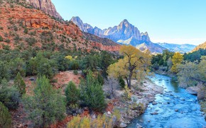 Picture landscape, mountains, river, Zion National Park