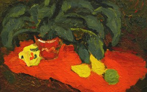 Picture still life, lemons, orange fabric, a flower in a pot, The petyaev, 2006