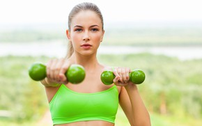 Picture look, background, blonde, beauty, hairstyle, bokeh, topic, training, makeup, girl, fitness, exercise, dumbbells, green