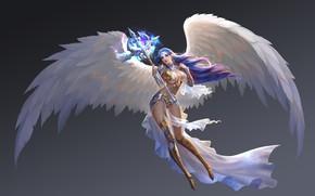 Picture wings, angel, fantasy, art, rod, Aurora, Hao Guo
