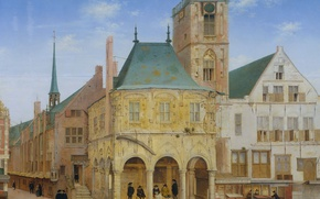Wallpaper tree, oil, picture, the urban landscape, Pieter Jansz Saenredam, The old town Hall in Amsterdam