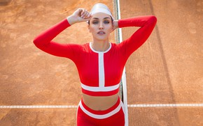 Picture pose, mesh, model, makeup, figure, t-shirt, hairstyle, cap, beauty, in red, Olga, tennis, court, tights, …