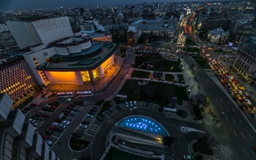 Picture Road, Night, Panorama, Building, Night, Road, Romania, Panorama, Romania, Bucharest, Bucharest