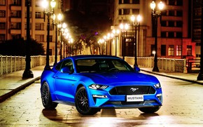 Picture blue, Ford, front view, Fastback, 2018, Mustang GT