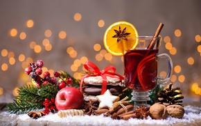 Wallpaper tea, punch, cinnamon, Christmas, cookies, orange, nuts, Apple, cookies, mulled wine, wine, merry christmas, New ...