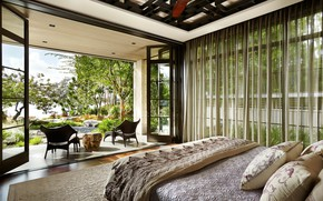 Picture interior, bedroom, terrace, Asian Inspired Home