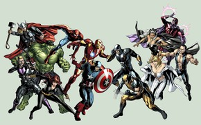 Picture Hulk, Wolverine, X-Men, Storm, Iron Man, Captain America, Emma Frost, Thor, Magneto, Marvel Comics, Black …