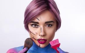 Picture girl, makeup, brush, powder, Vitalina Mussina