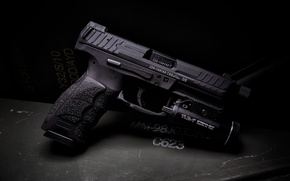 Wallpaper gun, flashlight, HK VP9, Tactical