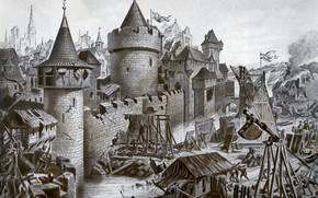 Picture castle, Gravure, black and white, The Siege Of Lukomore