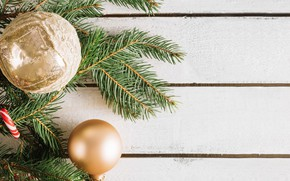 Picture holiday, new year, Golden balls, fir-tree branches