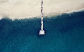 Wallpaper wave, sea, roof, beach, shore, pierce, the bridge, the view from the top