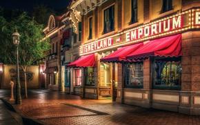 Picture night, street, HDR, CA, lantern, USA, Disneyland, Disneyland, Anaheim, Parks