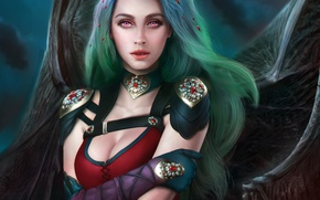 Picture chest, look, face, wings, dress, art, beauty, vampire, Evelyn, succubus