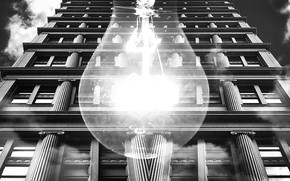 Picture the building, black and white, Light bulb, architecture
