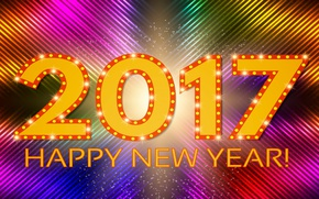 Picture colorful, New Year, abstract, background, neon, happy new year, 2017, glittering