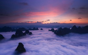 Picture clouds, mountains, tops, China, Anhui, Huangshan