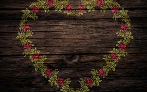 Wallpaper vintage, texture, wood, shabby chic, roses, heart, background, style
