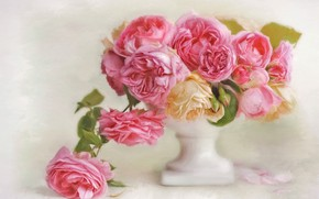 Picture flowers, roses, petals, art, vase