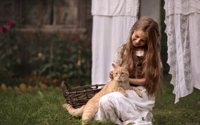 Picture cat, joy, hair, linen, village, girl