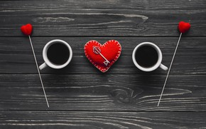 Picture love, heart, coffee, Cup, love, heart, wood, cup, key, romantic, coffee, valentine
