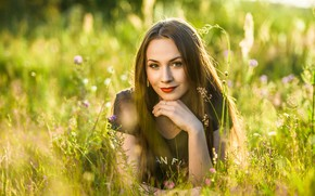 Picture greens, summer, the sun, nature, pose, smile, glade, portrait, makeup, brunette, hairstyle, lies, beautiful, in …