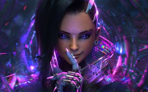 Wallpaper face, sombra, girl, fingers, costume