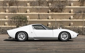 Picture Auto, Lamborghini, White, Machine, 1971, Car, Supercar, Side, Side view, Lamborghini Miura, P400, Lamborghini Miura …