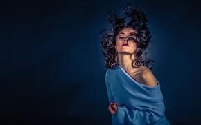 Wallpaper pose, background, mood, model, hair, shoulder, curls, sweater, Ms Fuchs