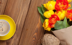 Picture coffee, bouquet, colorful, tulips, yellow, flowers, cup, tulips, coffee
